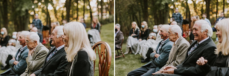 Backyard wedding guests