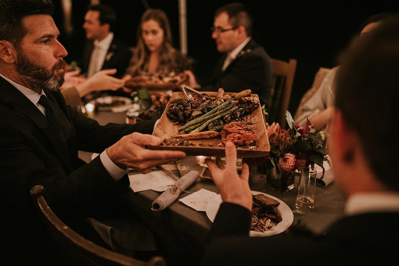 Wedding food being passed