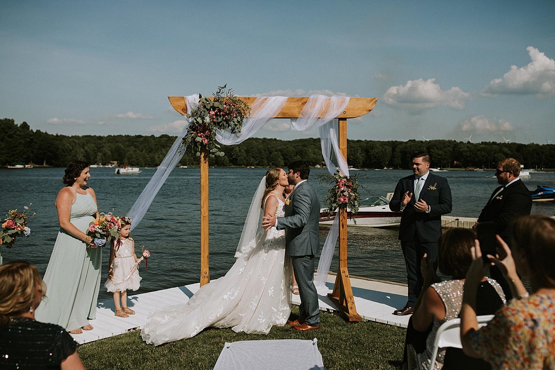 First kiss at Pittsburgh wedding