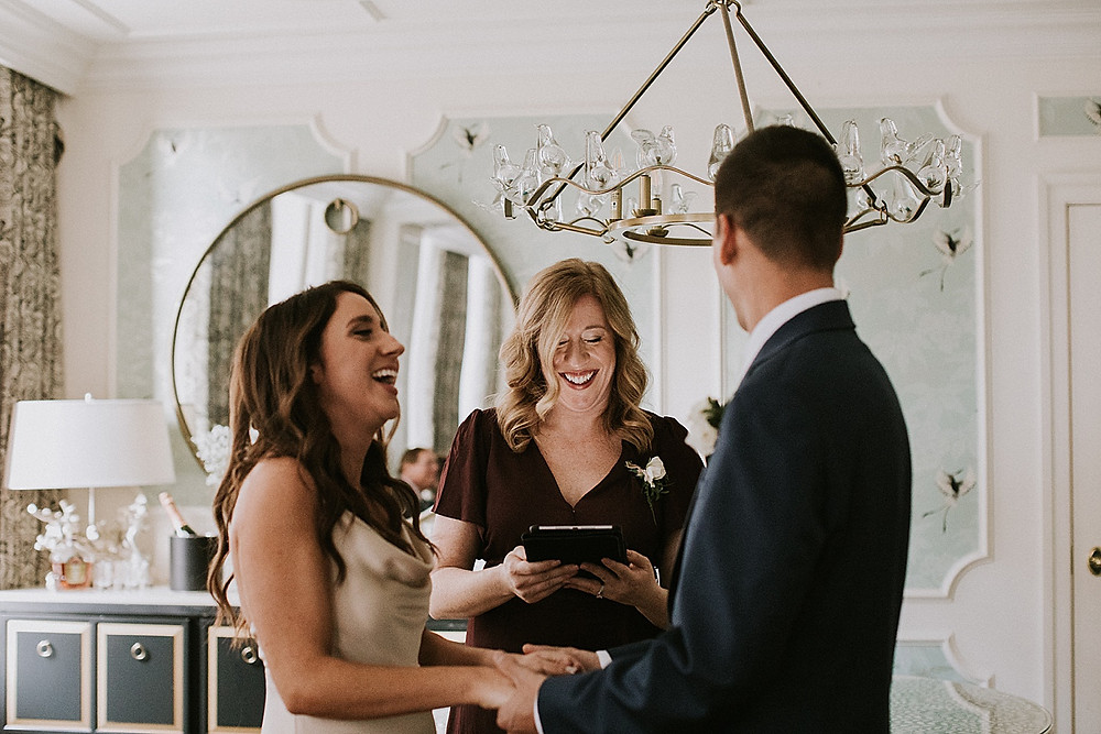 Family officiating wedding ceremony