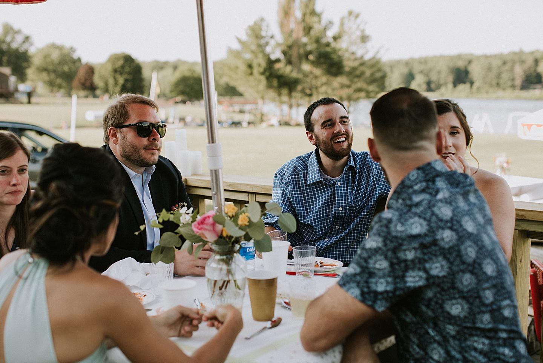 Guests talking at wedding reception