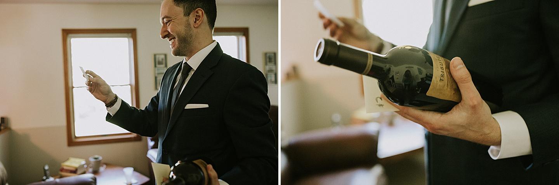 Groom opening bottle
