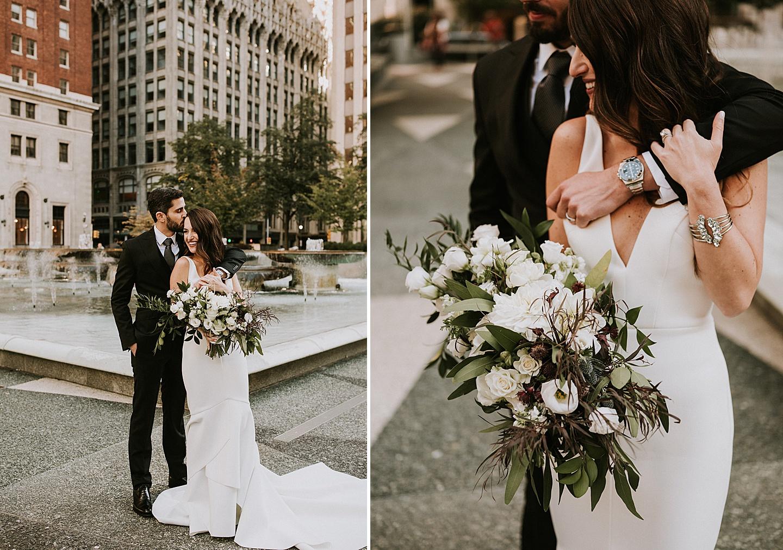 Pittsburgh wedding couple portraits downtown