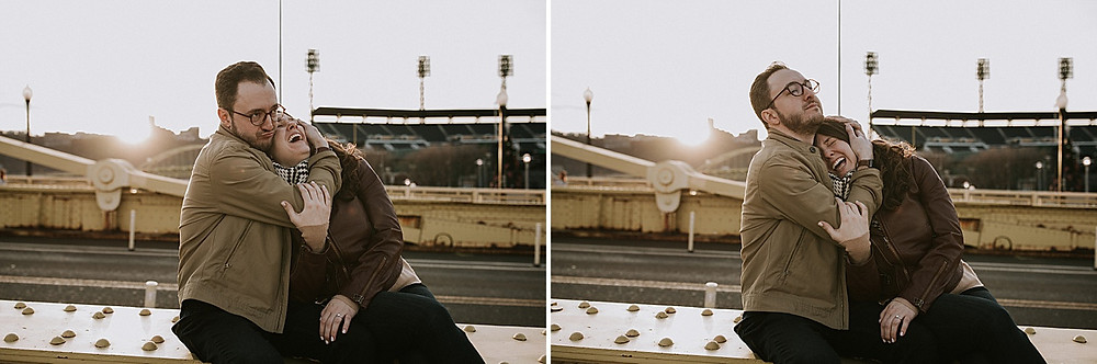 Engagement session in downtown Pittsburgh