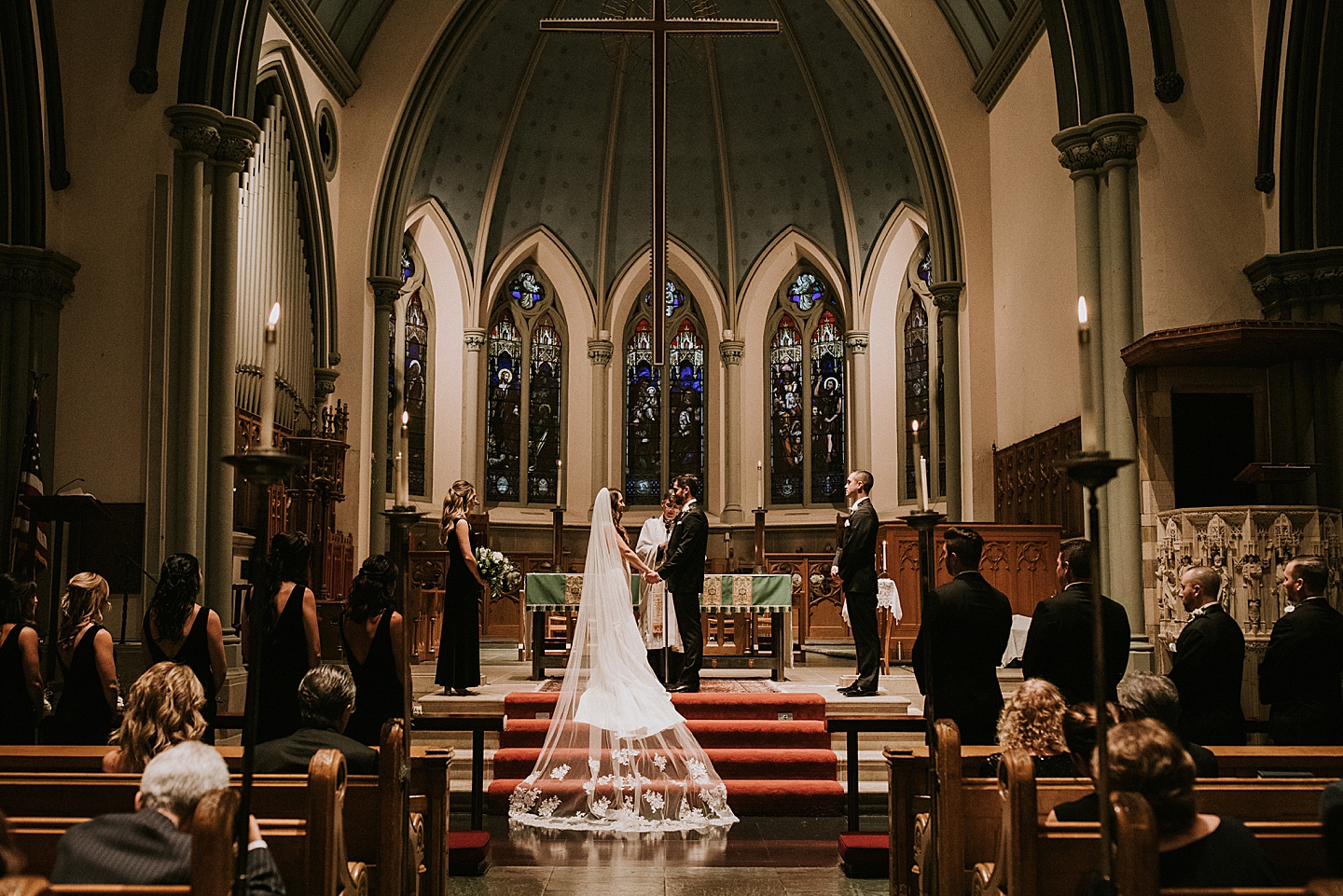 Bride and groom at church wedding in Pittsburgh PA