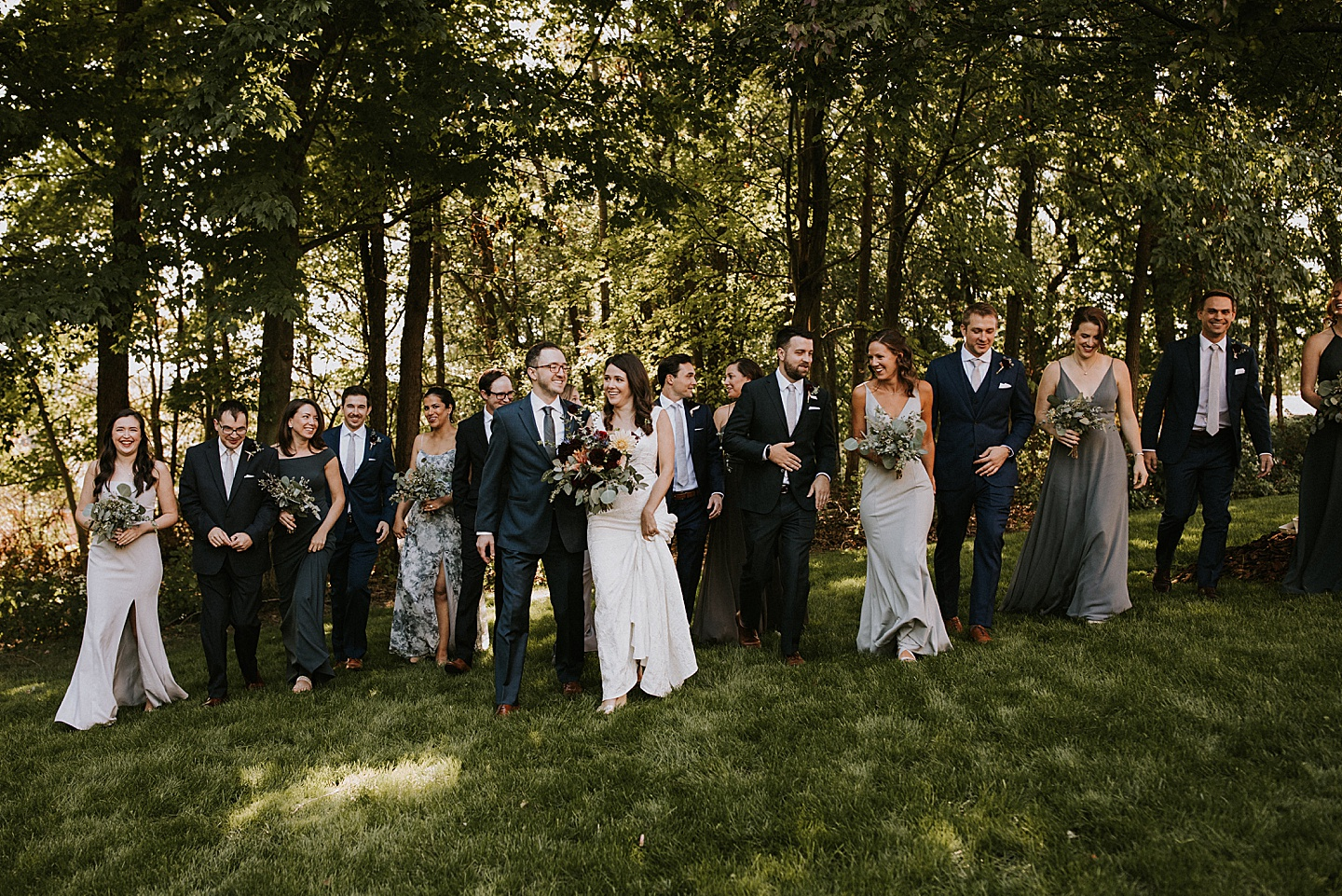 Wedding party in various colors of gray and blue