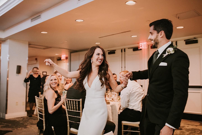 Couple entering wedding