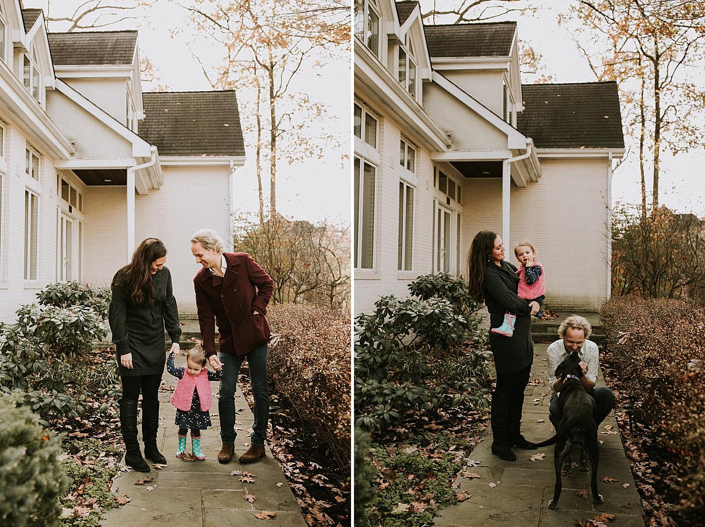 Family outside home