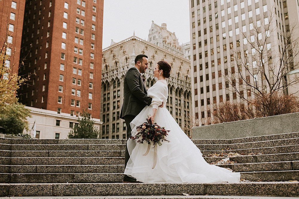 Wedding portraits in downtown Pittsburgh