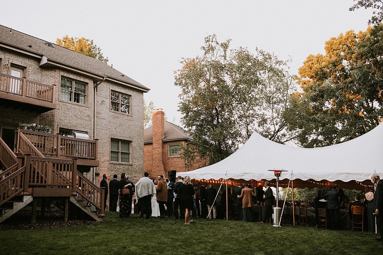 Tent at backyard wedding in Pittsburgh