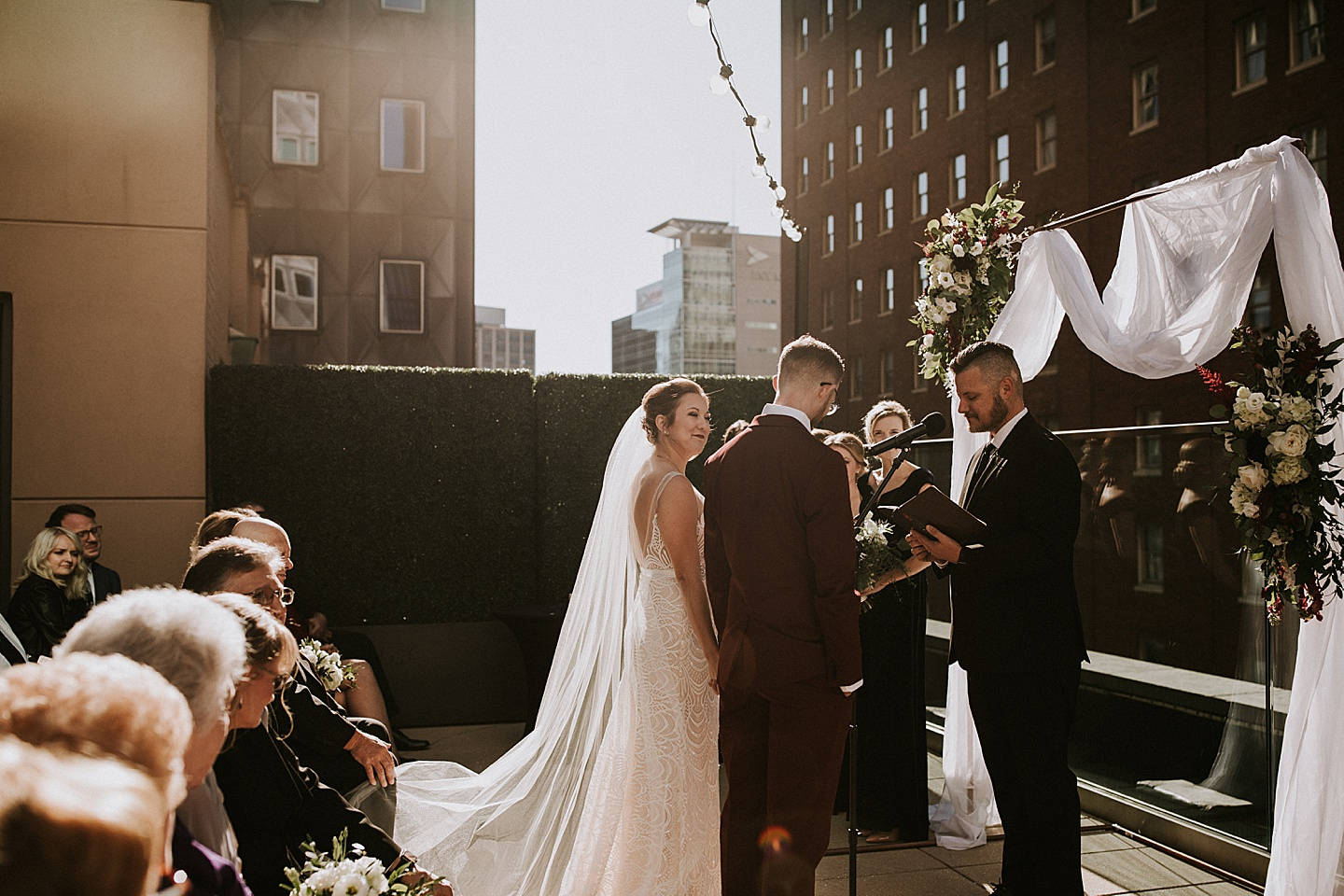 Pittsburgh rooftop wedding ceremony
