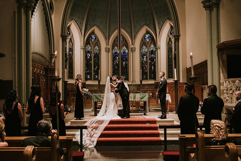 First kiss at church wedding