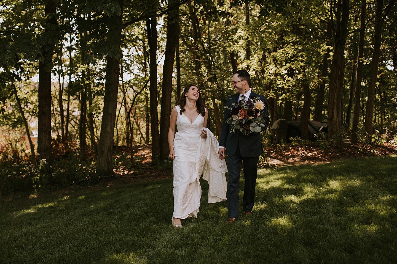 Portraits at a backyard wedding