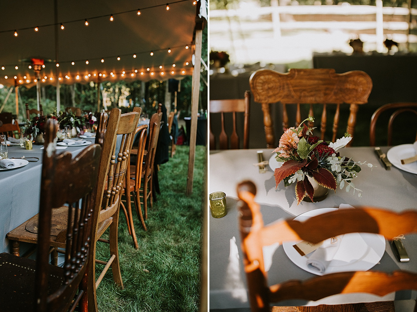 Antique chairs used at wedding reception