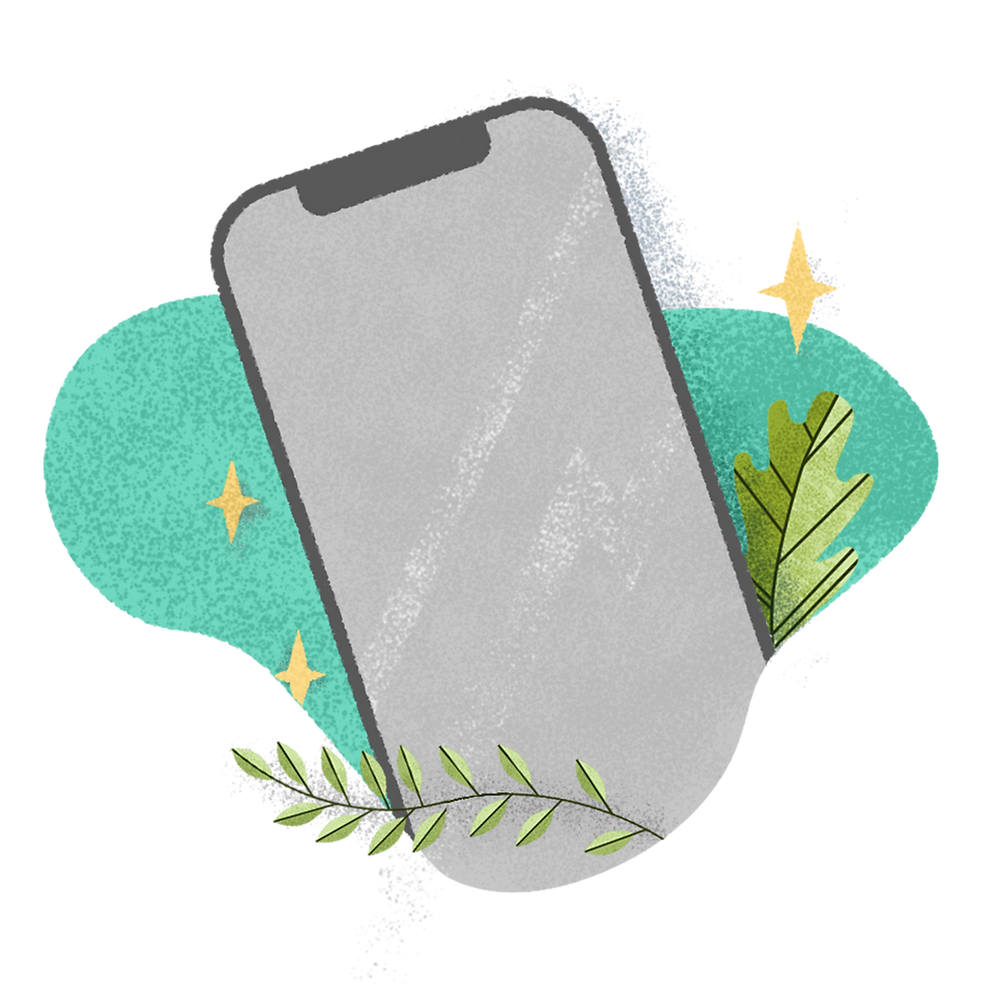 Illustration of mobile phone with surrounding graphics