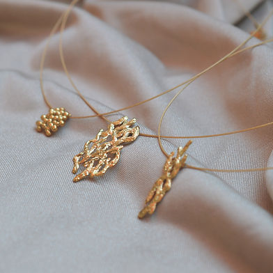 cable necklaces with texture, 24K gold plating handmade necklaces