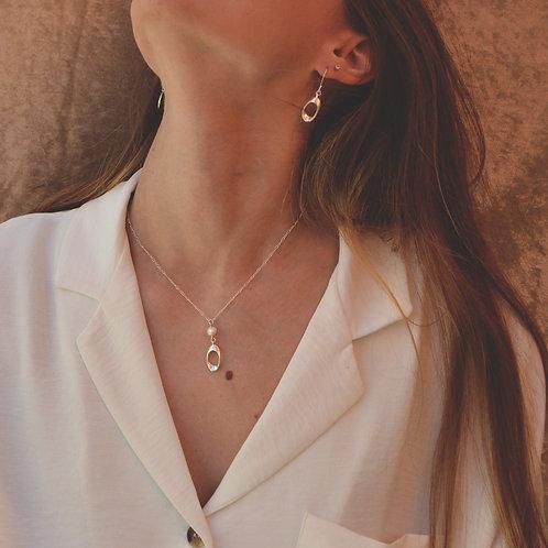 Plumeria Pearl Pendant Necklace