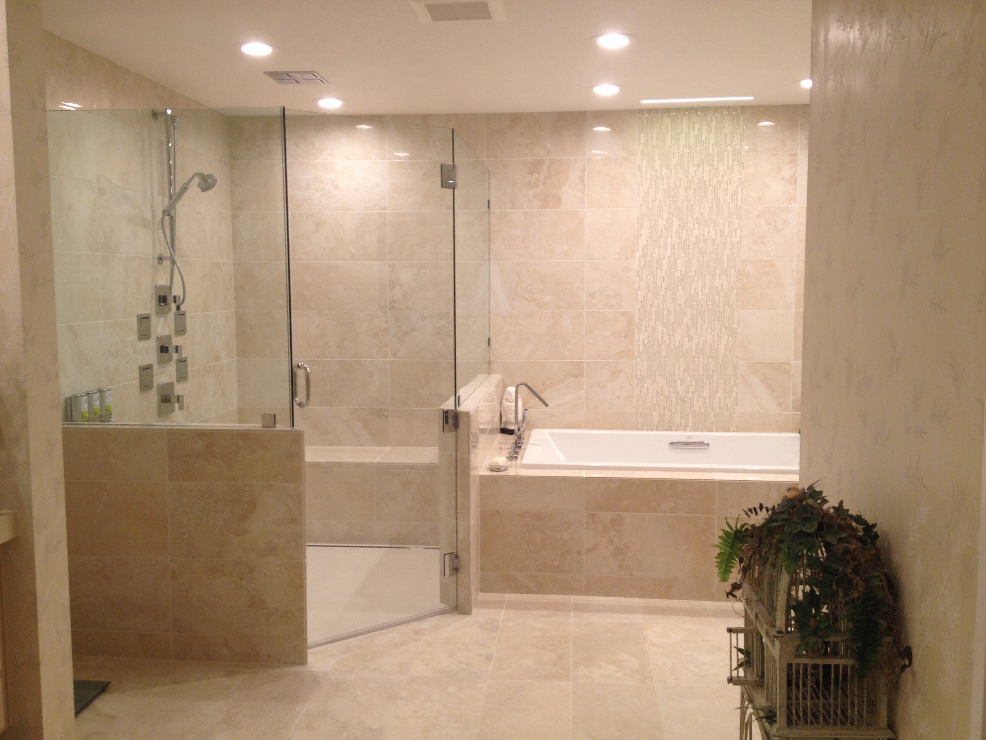 Tile shower with corian  shower pan