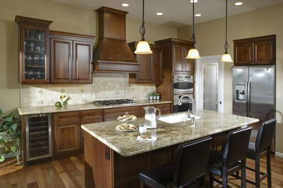 Traditional style kitchen and island