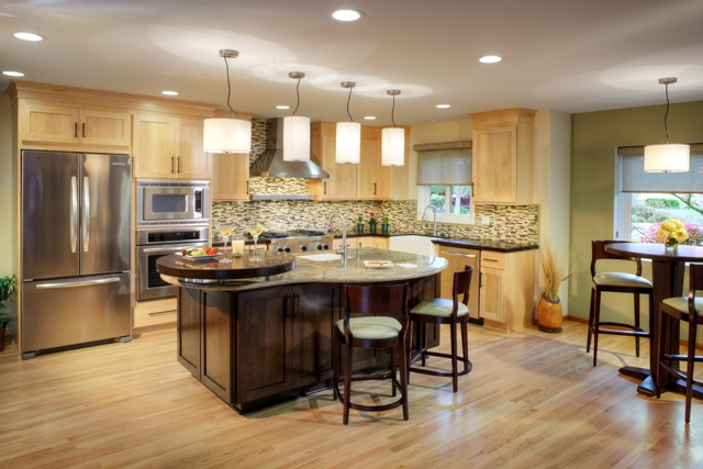 Transitional Open Plan maple kitchen