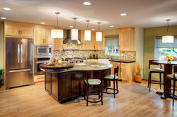 Transitional Open Plan maple kitchen