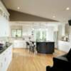 Open kitchen with piano island
