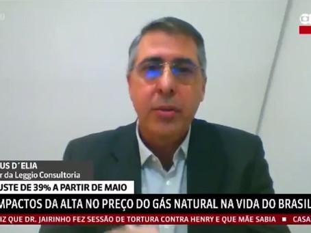 Marcus D'Elia fala sobre reajuste de 39% do Gás Natural à GloboNews