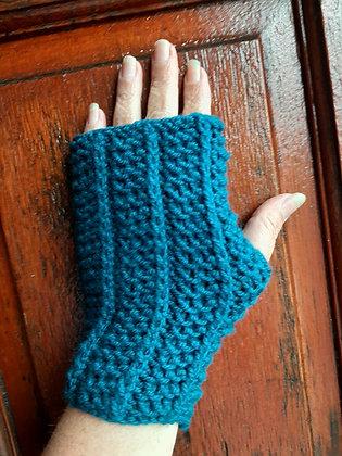 Unisex Handmade Blue-Green Fingerless Gloves