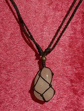 Macrame Rose Quartz Crystal Necklace
