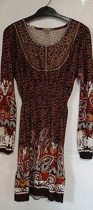 Ladies Winter Long Sleeve Brown Paisley Dress