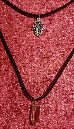 Hamsa Hand Clear Crystal Double Necklace