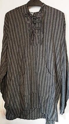 Men's Black & White Long Sleeve Stripe Hooded Top