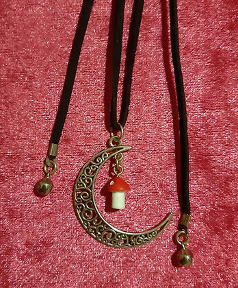Moon & Mushroom Long Necklace