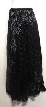 Paisley Printed Black Long Thai skirt
