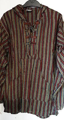 Men's Green Long Sleeve Stripe Hooded Top