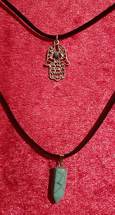 Hamsa Hand Turquoise Crystal Double Necklace