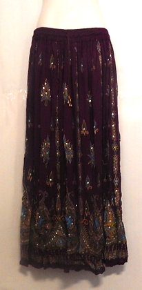 Long Purple Indian Silver Sequence Skirt