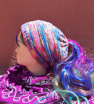 Ladies Handmade Rainbow Ponytail /Messy Bun Beanie