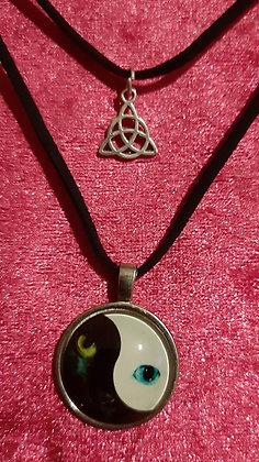 Glow in the Dark Yin Yan Cat's Eyes Double Necklace