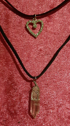 Heart Clear Crystal Double Necklace