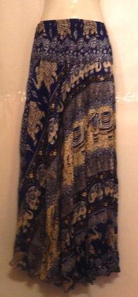 Elephant Printed Blue Thai Long Skirt