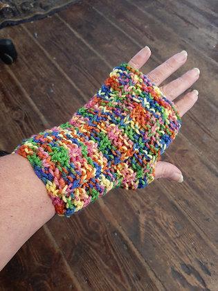 Unisex Handmade Rainbow Fingerless Gloves