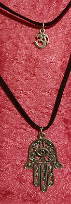 Hamsa Hand & Om Double Necklace
