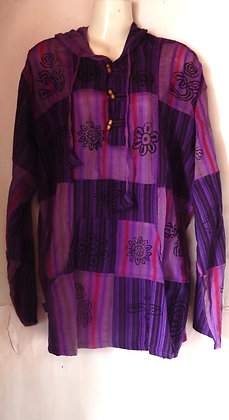 Men's Purple Patch Long Sleeve Hooded Top