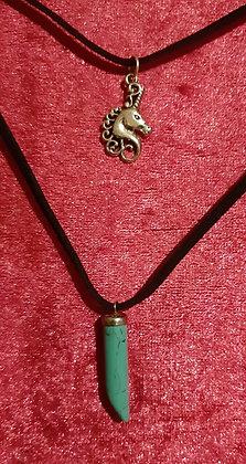 Unicorn Turquoise Crystal Double Necklace