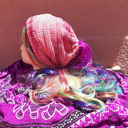 Ladies Handmade Pink Ponytail /Messy Bun Beanie