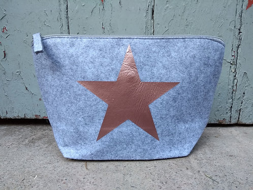 Large Grey Felt Cosmetic Bag Personalised