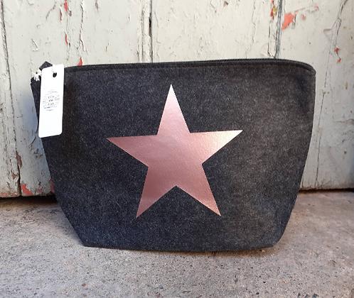 Grey Felt Cosmetic Bag Personalised