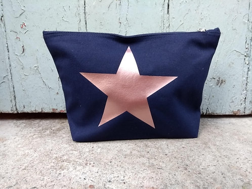 Large Navy Cosmetic Bag Personalised