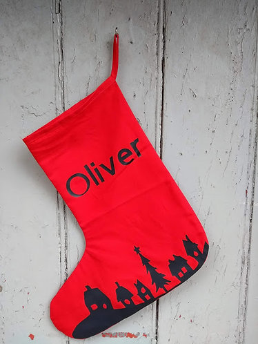 Christmas Scene Personalised Stocking
